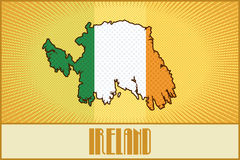 Vector symbolic map of Ireland. In colors of the Irish flag made in pop art / comic book / retro style with Ben-Day dots. With a transparency and a blending mode Stock Image