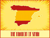 Vector symbolic map of Spain. Vector map of Spain in colors of the official Spanish flag made in pop art comic book retro style with Ben-Day dots. With Royalty Free Stock Images