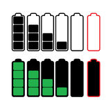 Vector symbols of battery level Stock Photos