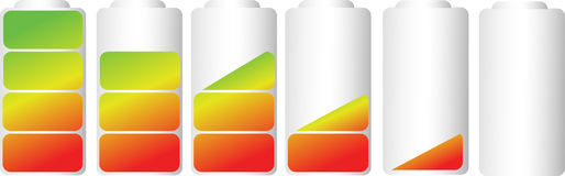 Vector symbols of battery level indicator Royalty Free Stock Photography