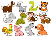 Vector symbols of chinese horoscope. Vector animals - symbols of chinese horoscope Royalty Free Stock Images