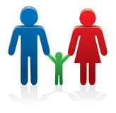 vector symbols of man, woman and a child Royalty Free Stock Photo