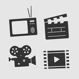 Vector Symbols Set Film and TV Royalty Free Stock Photo