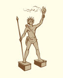 Vector symbols of The Seven Wonders of Ancient WORLD. Wonders of Ancient World. Colossus of Rhodes on white backdrop. Freehand outline ink hand drawn background Royalty Free Stock Photos