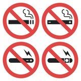 Vector Symbolsatz - das Vaping verboten, das Rauchen elektronisch lizenzfreie abbildung