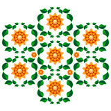 Vector symmetrical floral ornament composition. Color.  Royalty Free Stock Image