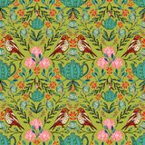 Vector symmetrical floral seamless pattern with folk art motifs royalty free illustration