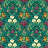 Vector symmetrical floral seamless pattern with folk art motifs. Great for fabrics, invitation cards, wrapping paper vector illustration