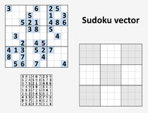Vector Symmetrical Sudoku. Symmetrical Sudoku with answers. Vector set Blank template Stock Photo