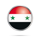 Vector Syrian flag button. Syria flag in glass button style. Royalty Free Stock Image