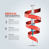 Vector syringe with red ribbon for infographics. Stock Image