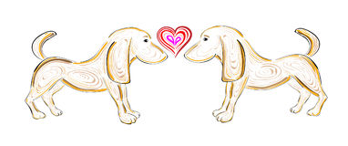 The Vector t-shirt design with dogs and heart Stock Images