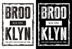 Vector for T-shirt 005. Design vector typography new york brooklyn for t shirt template with color black white Royalty Free Stock Images