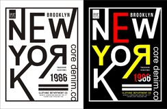 Vector for T-shirt 004. Design vector typography new york for t shirt template with color black white red yellow vector illustration