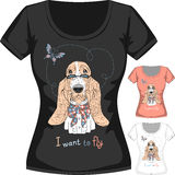 Vector T-shirt with dog Basset Hound Royalty Free Stock Photos