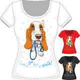 Vector T-shirt with dog Basset Hound Royalty Free Stock Photography