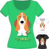 Vector T-shirt with dog Basset Hound Royalty Free Stock Image