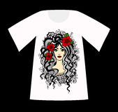 Vector T-Shirt with a drawing of beautiful woman. Royalty Free Stock Photos