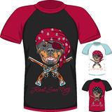 Vector T-shirt with Rottweiler dog pirate Royalty Free Stock Photography