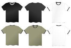 Vector T-Shirts. Illustrated collection or set of various styles of t-shirts Stock Images
