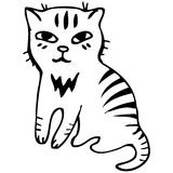 Vector. Tabby cat. Black outline sketch Royalty Free Stock Photos