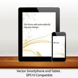 Vector tablet computer and mobile phone in white. Vector tablet computer and smartphone in white background, illustrated with Illustrator CS and EPS10. Vector Stock Photo