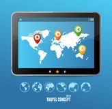 Vector tablet map and globe set. infographics Royalty Free Stock Photo