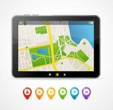 Vector tablet map navigation set. infographics Stock Photography