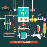 Vector of tablet painting technology, development process for sm Stock Photos