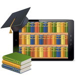 Vector Tablet PC with Library Stock Image