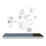 Vector tablet pc. Realistic tablet pc with online shopping Stock Photography