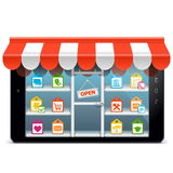Vector Tablet PC with Supermarket Concept Stock Photography