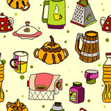 Vector tableware seamless color pattern. Hand-drawn various dishware such as sugar bowl, thermos, jar of jam, paper towels. beer mug, grater, cup, mug, bottle Stock Photo