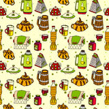 Vector tableware seamless color pattern. Hand-drawn various dishware such as sugar bowl, thermos, jar of jam, paper towels. beer mug, grater, cup, mug, bottle Stock Images