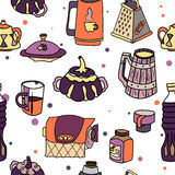 Vector tableware seamless color pattern. Hand-drawn various dishware such as sugar bowl, thermos, jar of jam, paper towels. beer mug, grater, cup, mug, bottle Royalty Free Stock Images