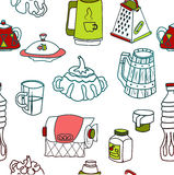 Vector tableware seamless color pattern. Hand-drawn various dishware such as sugar bowl, thermos, jar of jam, paper towels. beer mug, grater, cup, mug, bottle Stock Image