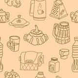Vector tableware seamless monochrome pattern. Hand-drawn various dishware such as sugar bowl, thermos, jar of jam, paper towels. beer mug, grater, cup, mug Royalty Free Stock Image