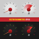 Vector tachometers glossy style modern illustration. Royalty Free Stock Image