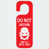 Vector tag with vampire icon. Do not disturb. Vector tag with vampire icon and text. Do not disturb or I'll bite you Stock Photo