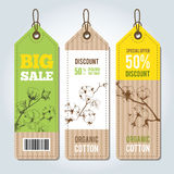 Vector tags for clothing template cotton. Royalty Free Stock Photography