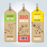 Vector tags for clothing template cotton. Royalty Free Stock Images