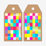 Vector tags design on both sides, cardboard sale labels. Abstract colorful business background, modern stylish vector Royalty Free Stock Photos