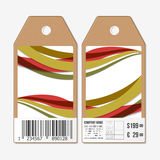 Vector tags design on both sides, cardboard sale labels with barcode. Abstract background, colored waves Royalty Free Stock Photos