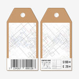 Vector tags design on both sides, cardboard sale labels with barcode. Abstract background. Technical construction Royalty Free Stock Photo