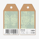 Vector tags design on both sides, cardboard sale labels with barcode. Abstract background. Technical construction Royalty Free Stock Photography