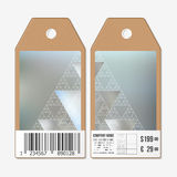 Vector tags design on both sides, cardboard sale labels with barcode. Abstract blurred background, triangles and lines Royalty Free Stock Photography