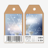 Vector tags design on both sides, cardboard sale labels with barcode. Abstract blurred background Stock Photo