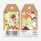 Vector tags design on both sides, cardboard sale labels with barcode. Abstract colored background Stock Photography