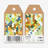 Vector tags design on both sides, cardboard sale labels with barcode. Abstract colored background Royalty Free Stock Image