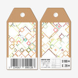 Vector tags design on both sides, cardboard sale labels with barcode. Abstract colored background Stock Image